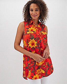 Orange Floral Sleeveless Viscose Shirt