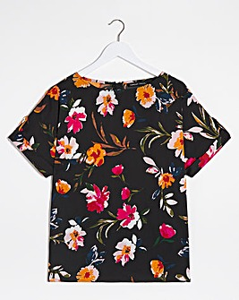 Black Floral Button Detail Woven Top