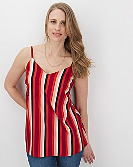 Red Stripe Print Woven Strappy Cami