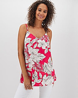 Pink Floral Woven Strappy Cami