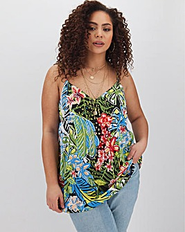 Tropical Floral Print Woven Strappy Cami