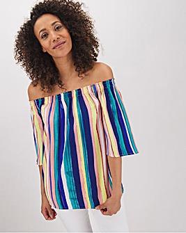 Multi Stripe 3/4 Sleeve Bardot