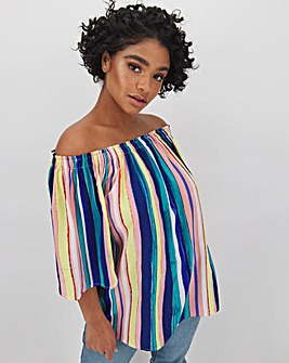 Multi Stripe 3/4 Sleeve Bardot
