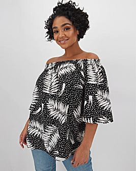 Palm/Spot Print 3/4 Sleeve Bardot