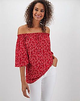 Red Floral 3/4 Sleeve Bardot