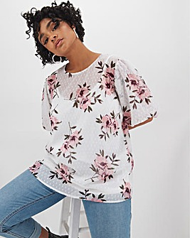 Ivory Floral Dobby Puff Sleeve Top