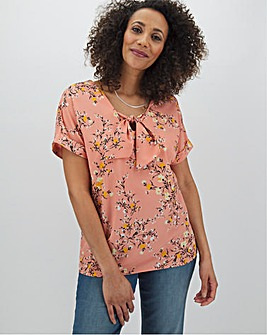 Ditsy Knot Front Boxy Top