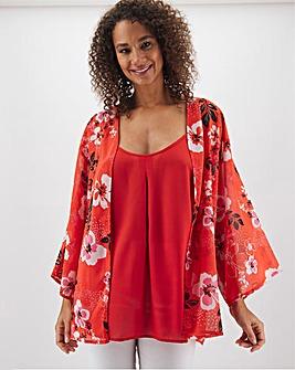 Red Floral Print Set Of 2 Cami & Kimono