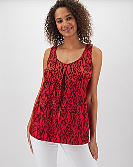 Red Animal Print Woven Vest