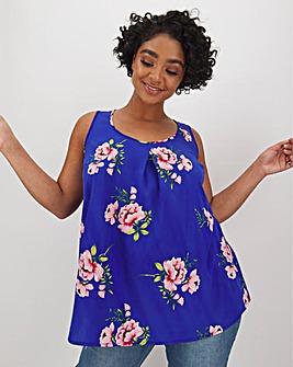 Blue Floral Print Woven Vest