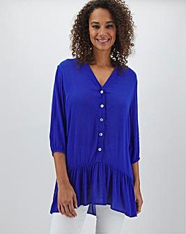 Cobalt Crinkle Frill Hem Shirt