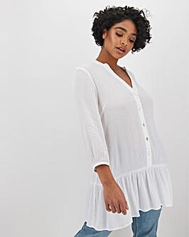 White Crinkle Frill Hem Shirt