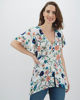 Ivory Floral Button Through Top