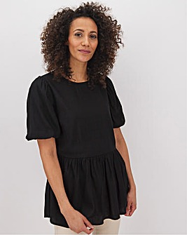 Black Linen Puff Sleeve Top