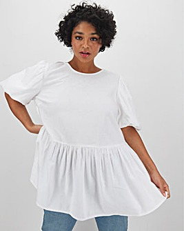 White Linen Puff Sleeve Smock Top