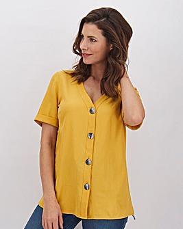 Short Sleeve Button Front Blouse