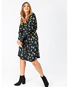 Koko Black Floral Wrap Dress