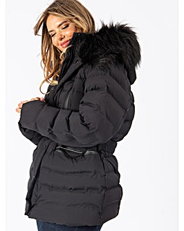 Lovedrobe Black Belted Padded Coat