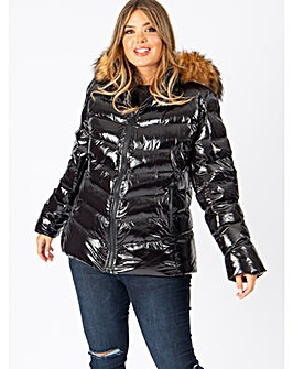 Lovedrobe Black Shine Padded Coat