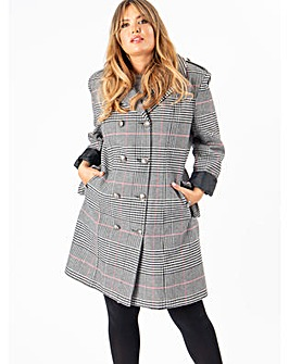 Lovedrobe GB Plaid Double Breasted Coat