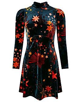 Monsoon Starlet Print Velvet Dress