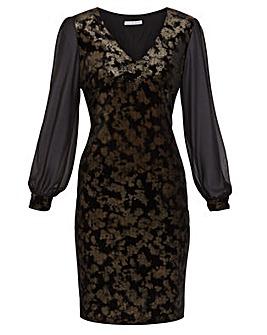 Gina Bacconi Imari Velvet Chiffon Dress