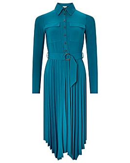 Monsoon Pia Pleated Shirt Jersey Dress