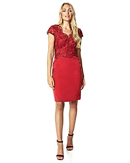 Roman Lace Overlay Fitted Dress