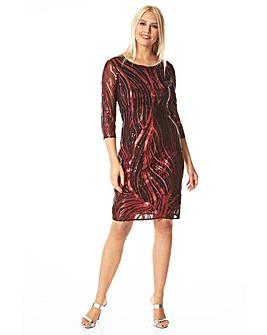 Roman Sequin 3/4 Sleeve Mesh Dress