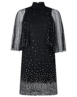 Monsoon Kimberley Sequin Cape Dress