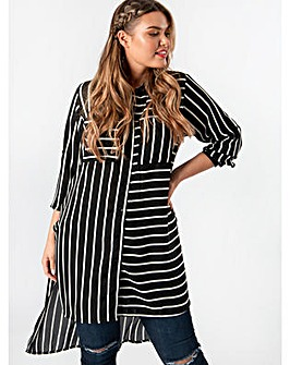 Koko Black and White Stripe Pocket Shirt
