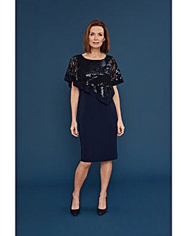 Gina Bacconi Evana Dress With Lace Cape
