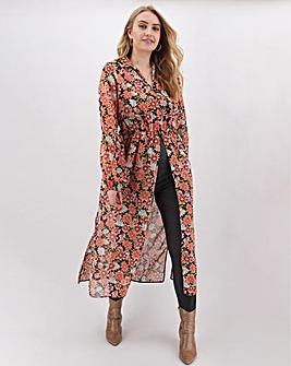Floral Print Shirt Kimono Top