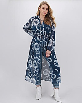 Tie Dye Shirt Kimono Top