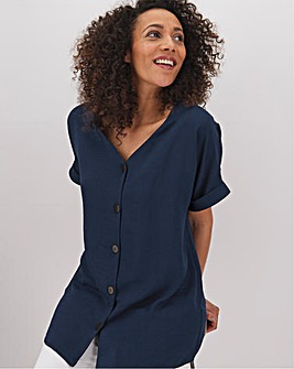 Indigo Button Through Blouse