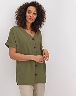 Khaki Button Through Blouse