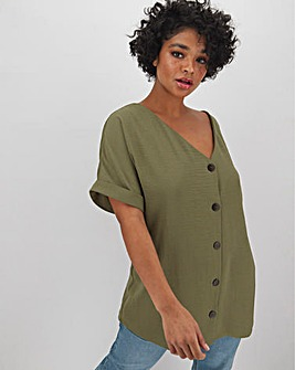 Khaki Button Through Blouse