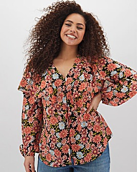 Ditsy Print Ruffle Front Blouse