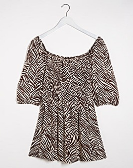 Zebra Print Puff Sleeve Shirred Blouse