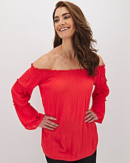 Cherry Wide Sleeve Crinkle Bardot Blouse