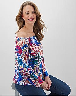 Multi Print Wide Sleeve Crinkle Bardot