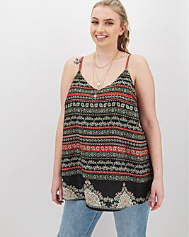 Tile Print Woven Strappy Cami