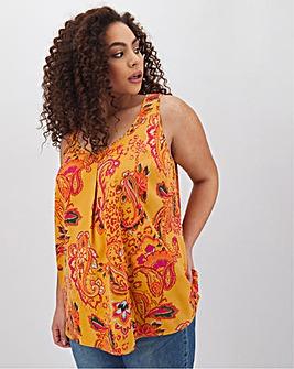Yellow Print Woven Vest