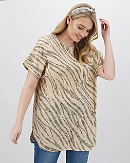 Stone Print Longer Length Boxy Top