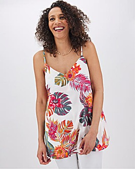 Ivory Tropical Print Woven Strappy Cami