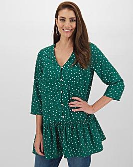 Green Spot Print Smock Tunic