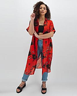 Paisley Print Longline Sheer Shirt
