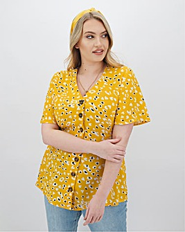 Print Button Blouse With Shirred Sides
