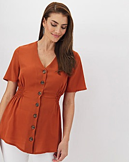 Terracotta Blouse With Shirred Sides