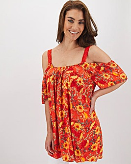 Orange Print Cold Shoulder Blouse